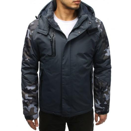 Sivá pánska lyžiarská bunda v army štýle