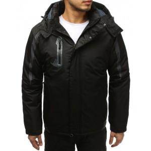 Kvalitná pánska lyžiarská bunda s kapucňou v čiernej farbe