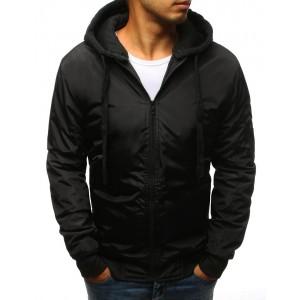 Čierna pánska bomber bunda s kapucňou