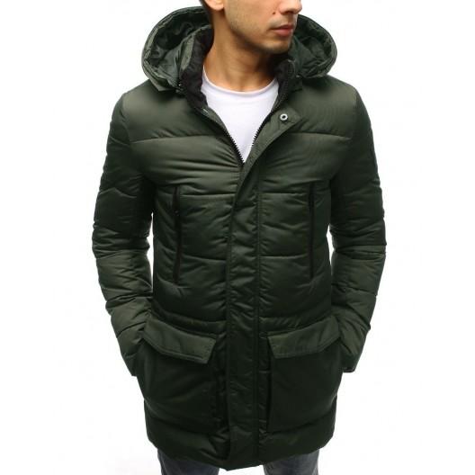 Dlhá zimná bunda pánska zelenej farby s dvojvrstvovou kapucňou
