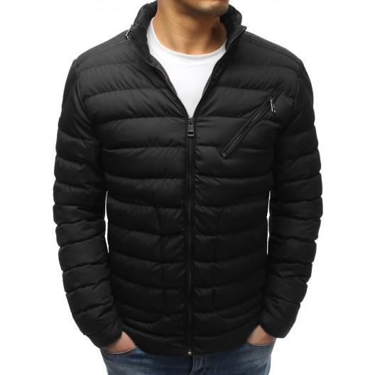 Čierna pánska bunda prešívaná so šikmým náprsným vreckom na zips