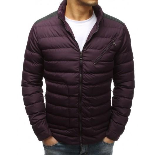 Tmavo bordová prešívaná pánska bunda na zimu