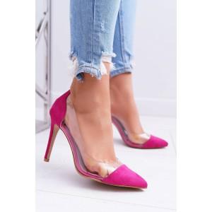 Tmavo ružové dámske lodičky na vysokom opätku