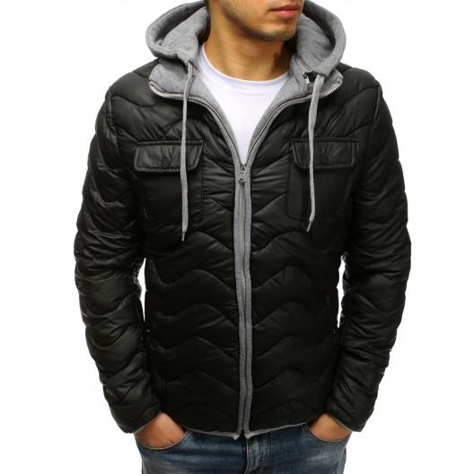 Prešívaná čierna pánska bunda so zapínaním na zips