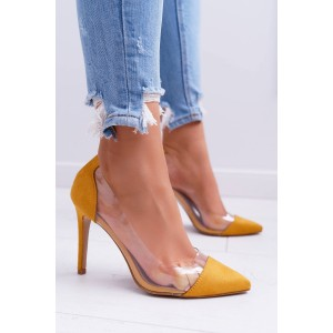 Vysoké dámske semišové lodičky v žltej farbe
