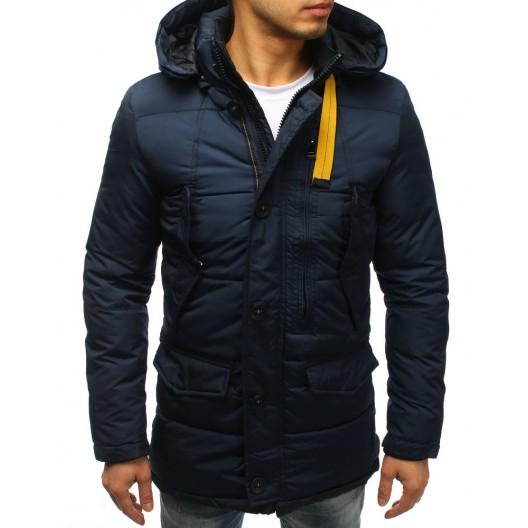 Pohodlná zimná vetrovka pre mužov s vreckami a odopínateľnou kapucňou