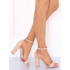 Dámske sandále v béžovej farbe na vysokom podpätku
