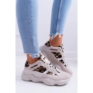 Béžové dámske tenisky s leopardím vzorom