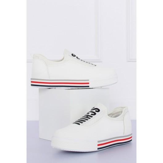 Biele dámske tenisky s nápisom