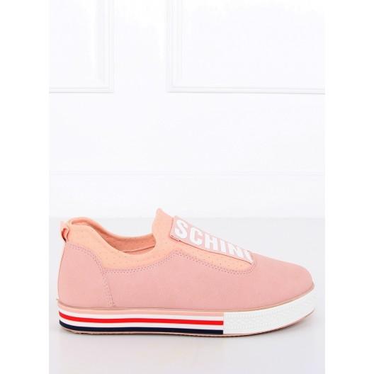 Moderne dámske tenisky s nápisom v svetlo ružvej farbe