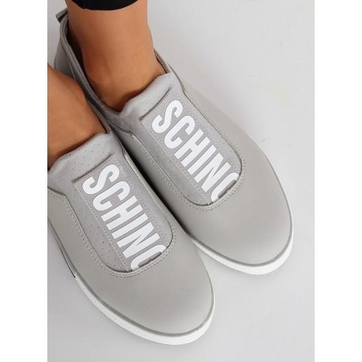 Dámske sivé topanky s nápisom