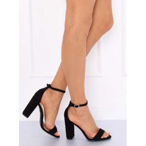 Elegantné dámske semišové sandále v čiernej farbe s remienkom