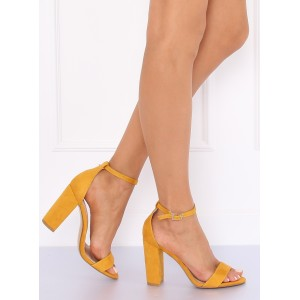 Štýlové dámske letné sandále v žltej farbe s viazaním na remienok