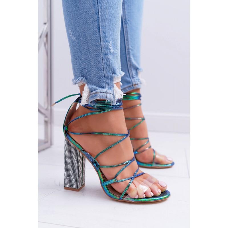 d48be81942bf Farebné dámske vysoké sandále na leto so štrasovým podpätkom