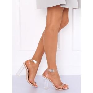 Originálne dámske transparentné sandále béžové s hrubým opätkom