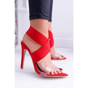 Elegantné červené sandále so širokým pásom okolo členku