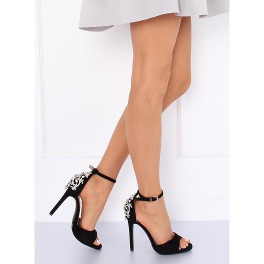 Spoločenské čierne dámske sandále na opätku s ozdobným štrásom