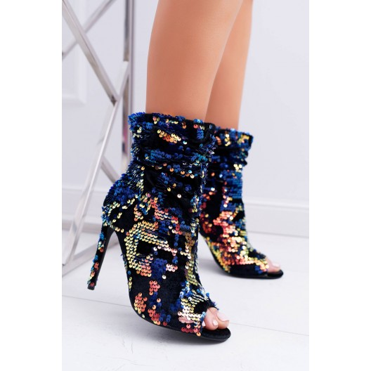 Členkové topánky s flitrami na vysokom opätku s otvorenou spičkou