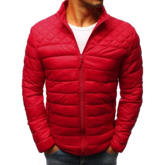 Pánska prešívaná červená bunda bez kapucne