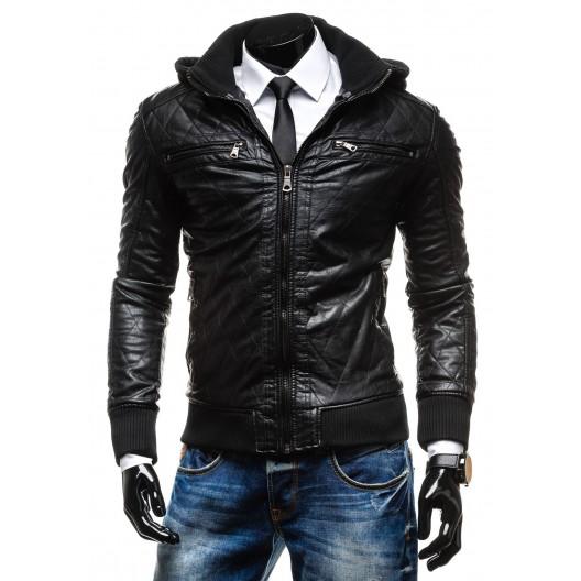 Štýlová pánska kožená bunda čiernej farby