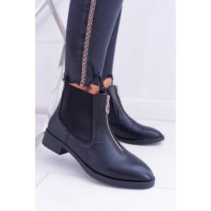 Nasúvacie dámske členkové topánky so zipsom v prednej časti