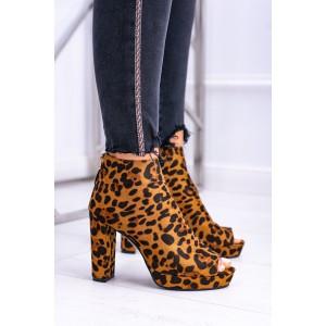 Leopardie členkové topánky na podpätku