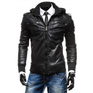 Pánske kožené bundy čiernej farby s kapucňou