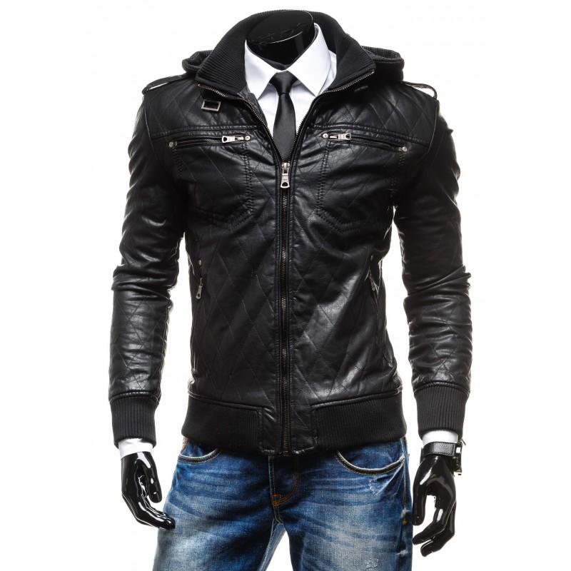 Pánske kožené bundy čiernej farby s kapucňou - fashionday.eu 1a6af8ec882