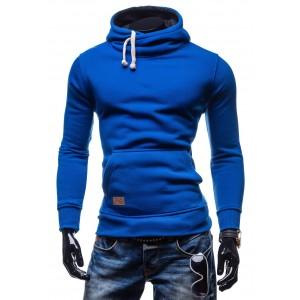 Pánske štýlové mikiny modrej farby s kapucňou