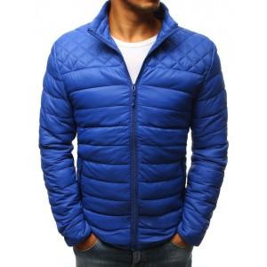 Modrá prešívaná prechodná bunda po bedrá