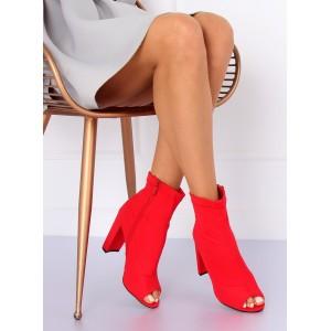 Červené dámske členkové topánky so zipsom na hrubom opätku