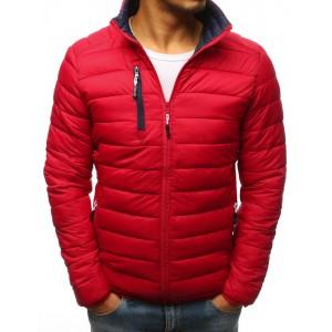 Pánska jarná bunda červená so zipsovým náprsným vreckom