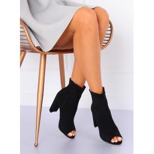 Členkové topánky na hrubom opätku s otvorenou špičkou v čiernej farbe