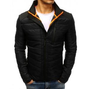 Štýlová jarná bunda pánska čierna s vnútorným vreckom