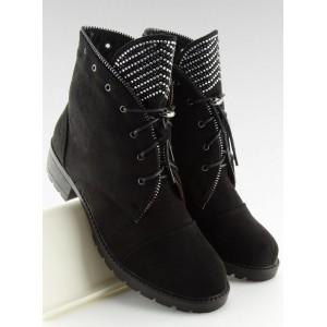 Originálne čierne členkové topánky ny zips s trblietkami a módnymi šnúrkami