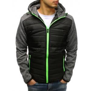 Čierna jarná bunda pánska s kapucňou a zeleným zipsom