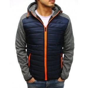 Jarná pánska bunda tmavomodrá s oranžovým zipsom