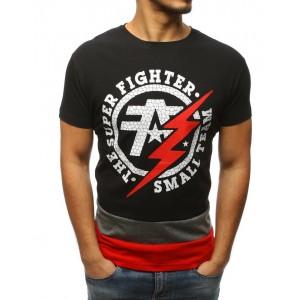 Čierne pánske tričko s pruhovanou spodnou časťou a potlačou