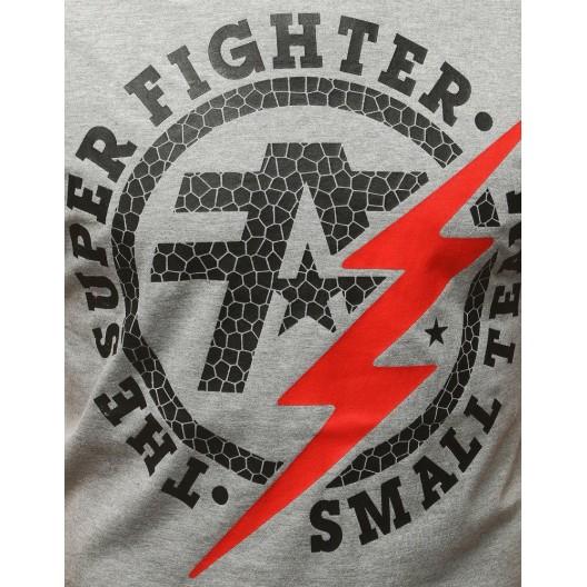 Pruhované tričko sivé s potlačou blesku
