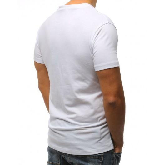 Štýlové biele pánske tričko s potlačou a nápismi