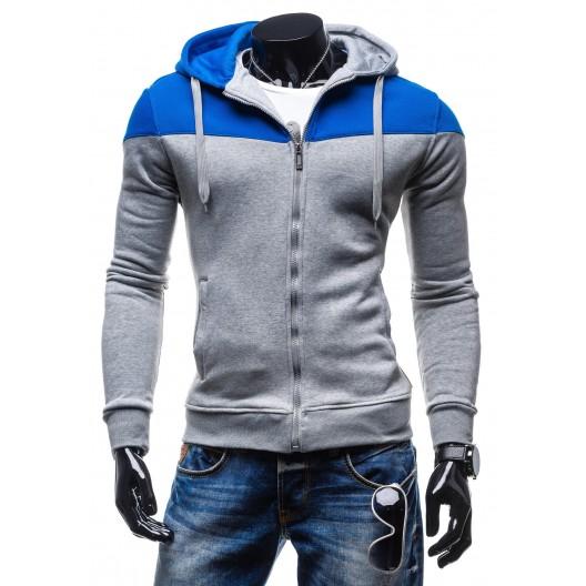 Mikina s kapucňou sivo-modrej farby so šnúrkami