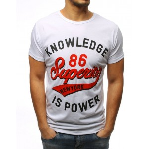 Pohodlné pánske tričko s krátkym rukávom bielej farby
