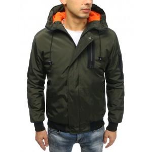 Tmavo zelená moderná jarná bunda pánska s oranžovou podšívkou a kapucňo