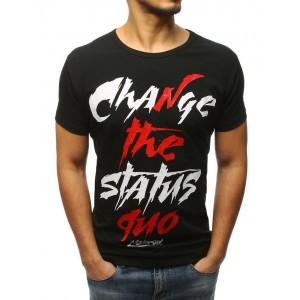 Pánske tričko čiernej farby s nápisom vpredu