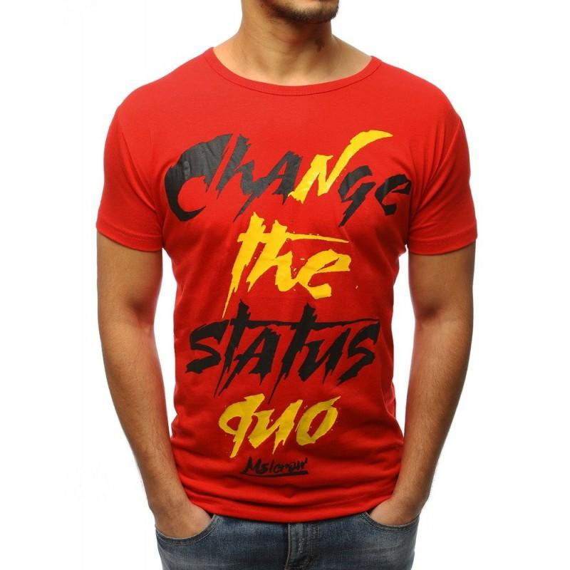7802484aa1d9 Červené pánske tričko s krátkym rukávom