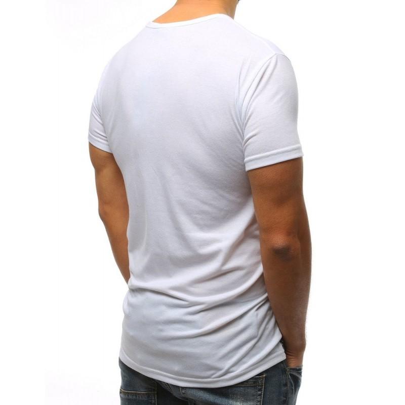 7e20fdf72 Štýlove pánske biele tričko s čiernou potlačou a červeným nápisom