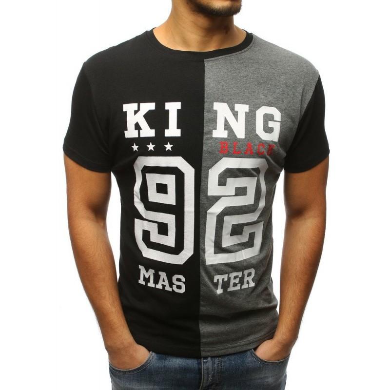 258ba0d651d5 Moderné sivo čierne tričko pre pánov KING