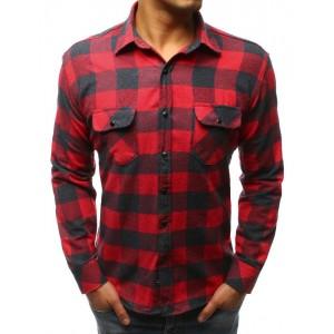 Červená pánska károvaná košeľa