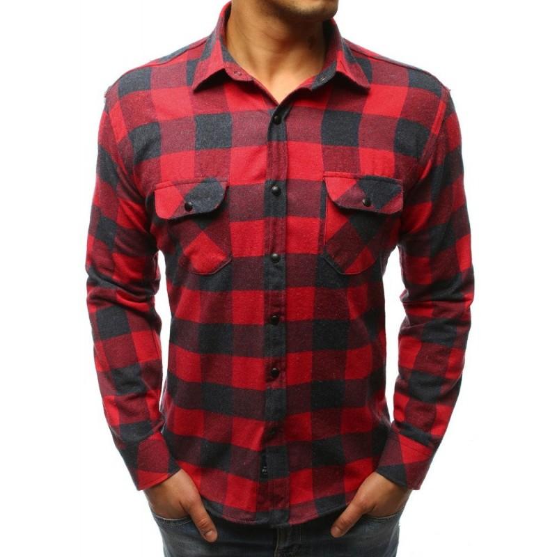 b03543635696 Červená pánska károvaná košeľa