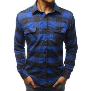 Modrá károvaná košeľa s dlhým rukávom